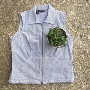 Pin Striped Adjustable Waist Vest!